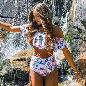 Other - NEW High Waisted Floral Bathing Suit